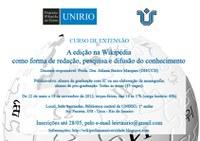 """Curso de Extensão """" A edição na Wikipédia como forma de redação, pesquisa e difusão de conhecimento"""""""